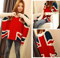 2013 New Women's British Flag Style Union Jack Sweater/Women's Knitwear Women's Pullovers High Quality Free shipping