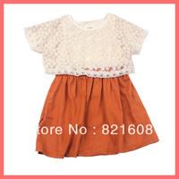 free shipping new 2013 summer Korea girl dress princess flower girl dress lace cotton elegant children dress