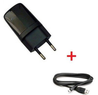 5V 1A EU Wall Charger Adapter + Micro USB Data Cable For HTC Desire Wildfire Incredible S/HD/2 With LOGO Black