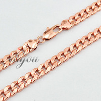 Free Shipping New 9mm Fashion Jewelry Mens Womens Huge Flat Curb Cuban Chain 18K Rose Gold Filled Necklace Gold Jewellery DJN84