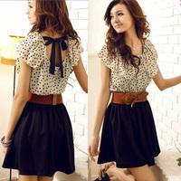 2014 Free Shipping Korean Women Summer New Elegant Fashion Polka Dots Waisting Short-sleeve High Waist Mini Chiffon Dress