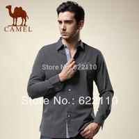 Camel men's clothing autumn 100% cotton long-sleeve shirt male business casual stripe shirt