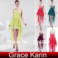 Women Strapless High-Low Chiffon Prom Dresses Front short long back Formal Beaded Evening Dress CL4326