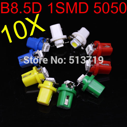 Free Shipping 10x T5 LED Lamp B8.5D Car Gauge 5050 1 SMD Speedo Dashboard Dash Side Light Bulb White,Red,Blue(China (Mainland))