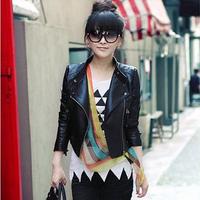 2014 New Autumn Ladies Leather Jacket Stand Collar Rivet Black PU Leather Coat Sexy Women's Fur Clothing Plus Size S - XXXL