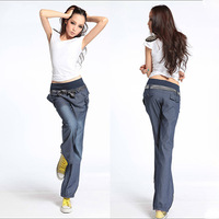 Fashion women's new elastic waist pants wide leg pants long jeans ladies denim bow trousers