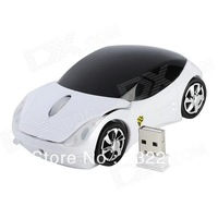 Car Style 2.4GHz Wireless 1000dpi Optical Mouse - White + Black Free Shipping