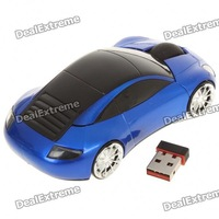 2.4GHz Wireless Optical Mouse with USB Receiver 1200DPI shape of the car - Blue Free Shipping