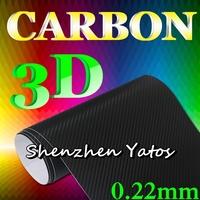 0.22MM Black 3D Carbon Fiber Vinyl Color Sticker 1.52*30M Air Bubble