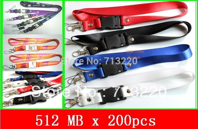 Wholesale 200pcs X 512MB USB Drive Lanyard Memory Flash Brand New Cheap Price free shipment Opening Ceremony Compatible USB 2.0(China (Mainland))