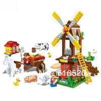 Free Shipping Banbao Farm Windmill Building Blocks Sets 267pcs Legoland Educational DIY Bricks Toys 8575 Without Orignial Box