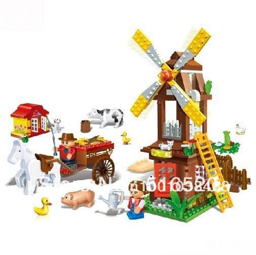Free Shipping Banbao Farm Windmill Building Blocks Sets 267pcs Legoland Educational DIY Bricks Toys 8575 Without Orignial Box(China (Mainland))