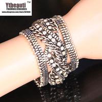 [Mix 15USD]Fashion Trendy Beauty Weave braid Metal Vintage antique Silver  Wrap Bracelets for men 2013 women