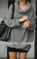 Free shipping new arrivel 2013 plus size clothing autumn winter large lapel loose sweater XXXL Large size