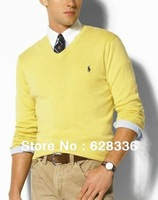 Free shipping 2013 New Winter Pullover V-neck Brand Cardigan Cashmere Wool Sweater Slim Fit Polo Men Casual Long-sleeve Sweater