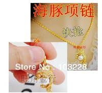 18K gold necklace Female models dolphin pearl pendant transfer beads Starry Dolphin Wholesale Free shipping-@8