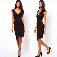 New Fashion 2013 Fall Womens OL Ladies Irregular Deep V Neck Black Pencil Business Office Dresses Evening Gown XXL
