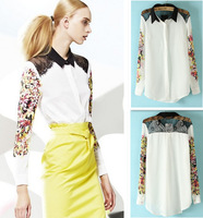 2013 new LI retro women shoulder lace contrast thin chiffon printed long-sleeved shirt collar free shipping