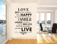 Free Shipping:2013New Original Design-Love Happy Live/Hot Selling In Ebay//Removable Decals /Wall Sticker/Vinyl Sticher 8083