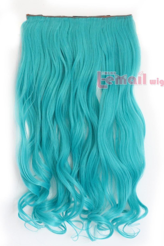 Free Shipping Synthetic High Temp Fiber Blue Clip Extension Hair Piece short big wave PJ21B(China (Mainland))