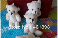 wholesales12cm mini teddy bear, Free Shipping 50pcs/lot Lovely Mini Plush Teddy Party Bear Toys Stuffed Plush cream color Bear