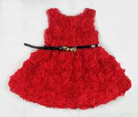 2014 Hot Girl's Dresses Kids Belted Flower Dress Children Wedding Rose Clothes For Summer Princess Dresses On Sale