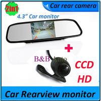 """Car Rearview Mirror Monitor and car backup camera car Monitor for DVD Camera VCR 4.3"""""""