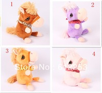 Wholesale 2014 Fashion Christmas Gift Recording Horse Plush Toys For kids Free Shipping
