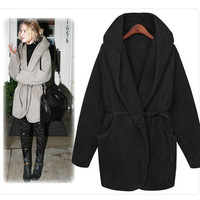 2013 Autumn and Winter Women Loose Cloak Jacket Fur Outerwear Hooded Furry Coat with Belt WWD025