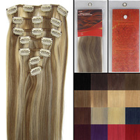 "15'' 18"" 20"" 22"" 7 Pieces Clip-In Remy Human Hair Extensions #12-613 light brown mix light blonde 70g for Woman"