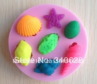 Free shipping   1PCS star fish and shell shaped Chocolate Candy Jello 3D Mold Mould Cartoon Figre/cake tools