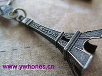 Eiffel Tower Charm Pendant Antique Bronze Key Ring 50x25mm Free shipping 2pcs/Lot JK2003