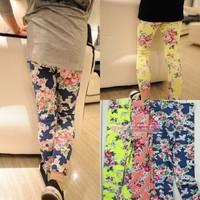 Free shipping hot girls leggings Kids girl slim pants flower 3colors floral print legging pants 100%cotton 5pcs/lot
