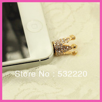 Min order is 10USD! Free shipping full Diamond Crown stereoscopic Kitty Cell Phone dust plug for retail J.R.Fashion