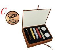 Vintage DIY Letter C Retro Alphabet Initial Wax Seal Stamp Wood Handle Stick Spoon Candel Kit Set Stationery Event Wedding Label