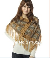 Free Shipping Rabbit & yarn knitted fur shawl 4 colors high quelity  YR-010