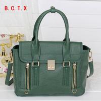 New 2014 women's messenger bags double zipper women handbag genuine leather cowhide cross-body shoulder bag designer handbag