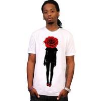 Men's Short Sleeve Tee T Shirt With Rose Print/ Bloody Rose Cool T Shirt Man