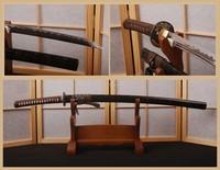 Brown Japanese Katana 1095 HCS Full Tang Blade Sharp Sword Can Cut Tree * HA204