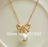 Italina brand series 2013 new gold-plated fashion sweet bow pearl necklace  Women