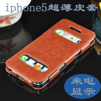 2013Hot Original Business Caller ID PU Leather Case For iphone 5 Ultrathin Flip Cover Cell Phone Cases For Apple 5G
