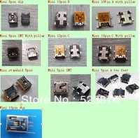 free shipping100pcs/lot high quanlity in common use mix 10 models 10pin and 5pin Mini USB connector for electronics