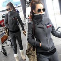 2013 winter and autumn velvet thickening plus size sweatshirt set Women NY berber fleece outerwear casual sport suit