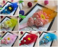 2013 New Style!60/lot Triple Chiffon Rose Flower Handmade Diamond center with Sunflower&Feather On Elastic Headband for baby