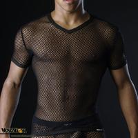 Free shipping Men's T-shirt Sexy mesh transparent Short-sleeve T-shirt Only shirt 3 Colors Size M L XL