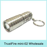 Wholesale TrustFire Mini-02 CREE XML T6 LED Flashlight Keychain Pocket mini Torch Light 300Lumens + 3V CR123A Battery 2014 New
