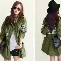 Free Shipping Stand Collar Korean Paris Printed Badge Military Winter Jacket Hoodies Coat For Women 2013 Fashion 315