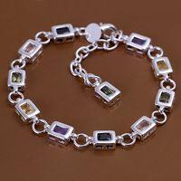 H261 Wholesale! Free Shipping Wholesale 925 silver bracelet, 925 silver fashion jewelry Square color stone bracelet   261