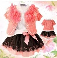 New 2013 Fashion girl lace clothing set,children autumn suit,kids lace wear 3 pcs jacket +t-shirt+skirt,4 sets/lot