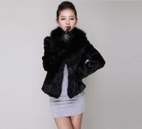2013 New Winter Women Elegant Imitation For Fur Collar Short Design Imitation Of Rex Rabbit Fur Coat  Black Color S/M/L/XL/XXL